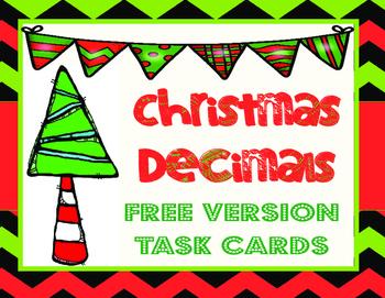 FREE! Christmas Decimals-Task Cards