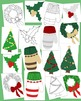 Christmas Decoration Clip Art Bundle 3 PNG JPG Blackline Commercial or Personal