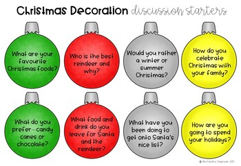 Christmas Decoration Discussion Starter Activity