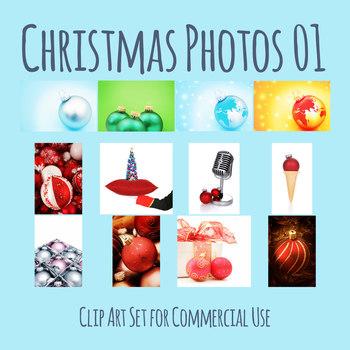 Christmas Decoration Photos / Photograph Clip Art Set for Commercial Use