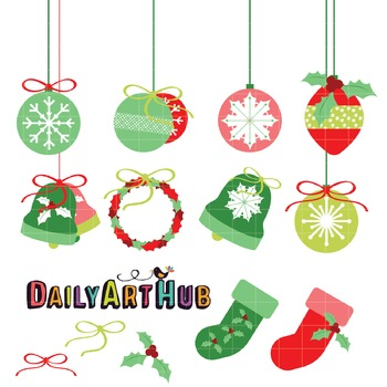 Christmas Decorations Clip Art - Great for Art Class Projects!