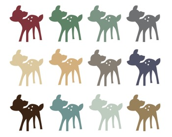 Christmas Deer Clipart, Digital Design, Christmas Deer Set #099