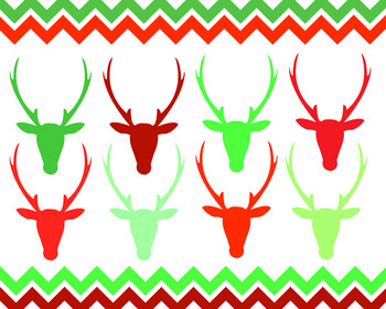Christmas Deer Heads And Chevron Borders { Digital Clip Art }