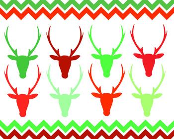 Christmas Deer Heads And Chevron Borders { Digital Clip Art }