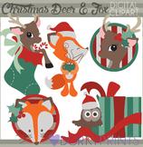 Christmas Deer and Fox Clip Art