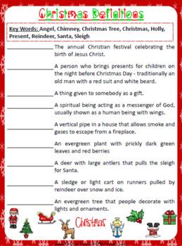 Christmas Definitions Worksheet | Free/Freebie