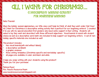 christmas descriptive writing by mrs reed s resource room tpt christmas descriptive writing