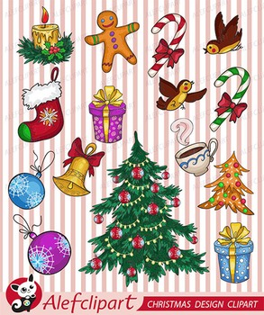 Christmas Design Element Digital Clipart,
