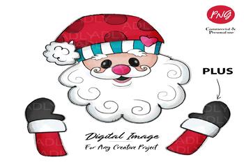 Christmas Design, Sublimation Santa red hat, Santa Claus doodle clip art digial