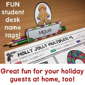 Christmas Desk Name Tags - Holiday Table Place Cards  Christmas Table Name Cards