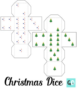 Christmas Dice, 3D Dice, Foldable Dice, Dice Dots