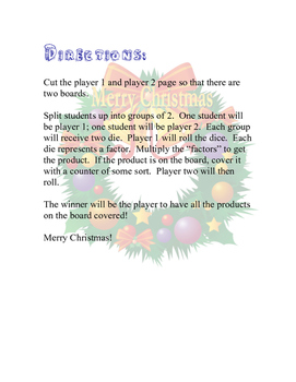 Christmas Dice Multiplication