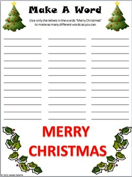 Christmas Dictionary Guide Words