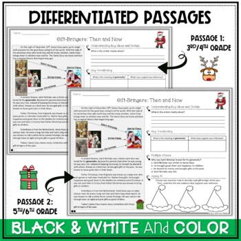Christmas Differentiated Nonfiction Passages and Questions
