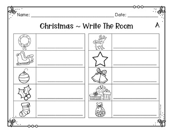 Christmas Differentiated Write and Add the Room Center