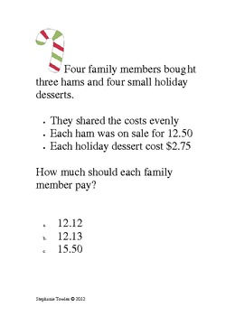 Christmas Differentiation Math Menu and Activities for Middle School