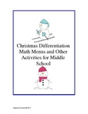 Christmas Differentiation Math Menu and Activities for Mid