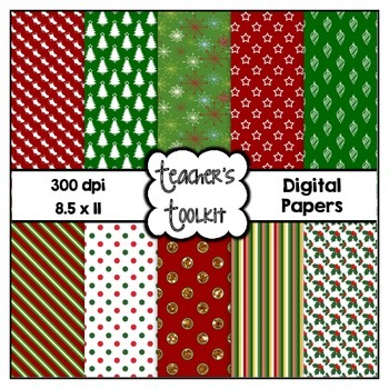 Christmas Digital Background Papers {8.5 x 11} CU OK