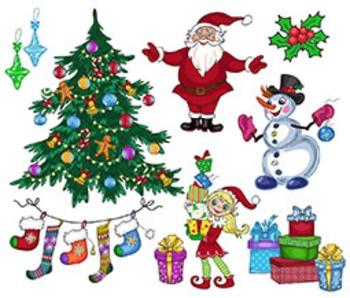 Christmas Digital Clipart, Christmas Clipart, Santa Clipar