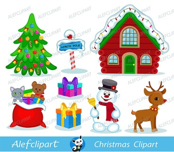 Christmas Digital Clipart, Santa Clipart, Mrs claus , Santa Claus Clipart.