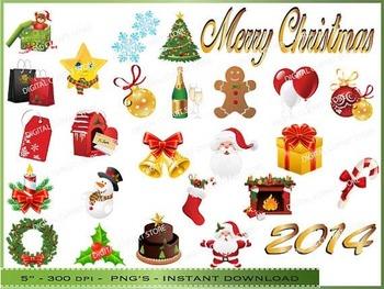 Christmas Digital Clipart / Santa, Tree, Wreath, Fireplace