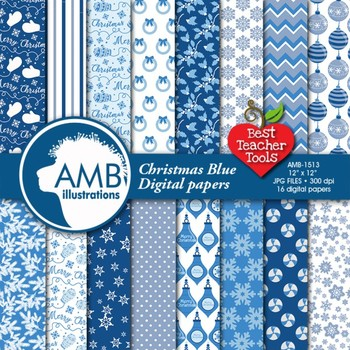 Christmas Digital Paper, Blue Xmas Holiday Backgrounds, AMB-1513