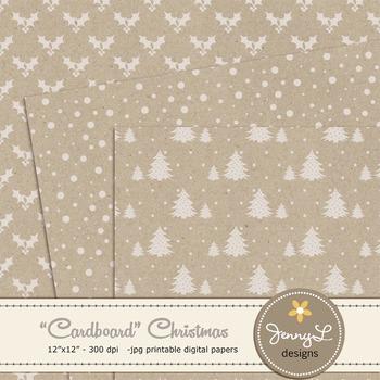 Christmas Digital Paper, Cardboard Kraft Christmas Papers, Textured Holiday