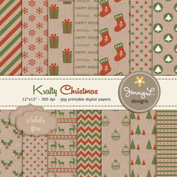 Christmas Digital Paper, Cardboard Kraft Christmas Papers,