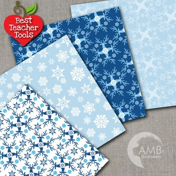 Christmas Digital Paper, Christmas Backgrounds, Blue Papers, AMB-1517