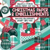 Christmas Digital Paper, Frames and Embellishments Collection