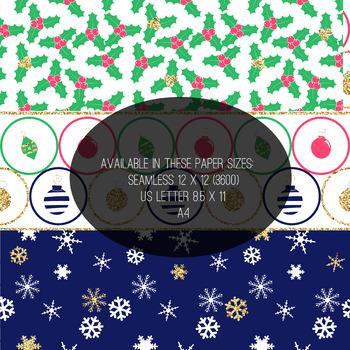 Christmas Digital Paper- Glamorous Christmas- USL 8.5 x 11 Paper size