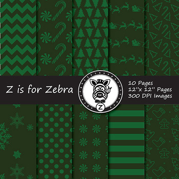 Christmas Digital Paper Pack 12 - CU OK! { ZisforZebra }