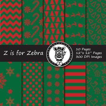 Christmas Digital Paper Pack 14 - CU OK! { ZisforZebra }
