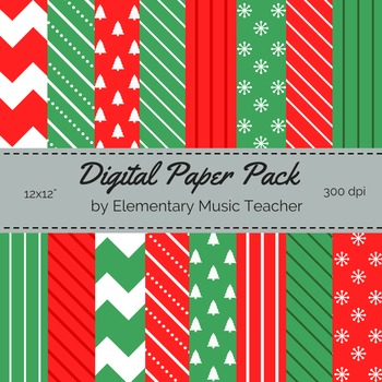 Christmas Digital Paper Pack - 16 Designs