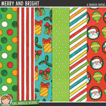 "Christmas Digital Paper Pack: ""Merry and Bright"""