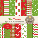 Christmas Digital Paper, Red and Green Christmas Papers, Poinsettia Digital