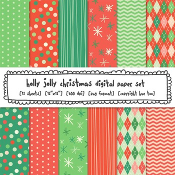 Christmas Digital Paper, Red and Green Holiday Digital Backgrounds