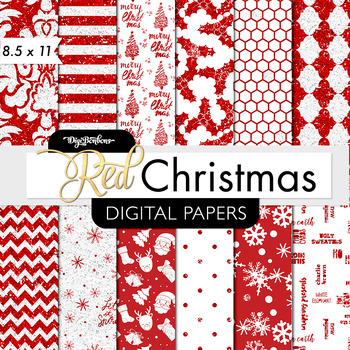 Christmas Digital Paper, Red and White Christmas - USL 8.5 x 11 Paper size