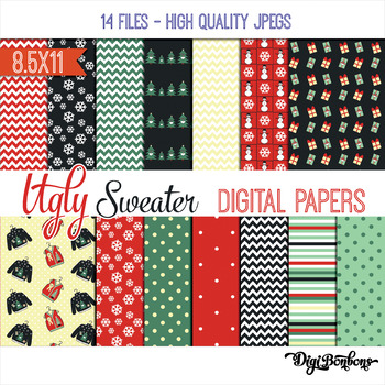Christmas Digital Paper - Ugly Christmas Sweater 9.5x11 size, scrapbooking, USL