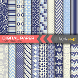 Christmas Digital Paper Value Pack, Winter Backgrounds, Navy Blue & Silver