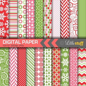 Christmas Digital Paper Value Pack, Winter Backgrounds, Red Green & Pink