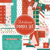 Christmas Digital Paper and Frame Noel Doodle Set