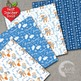 Christmas Digital Papers, Blue and White Forest Critters Christmas, AMB-1514
