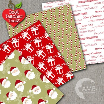 Christmas Digital Papers, Candy Cane Patterns, Santa Claus Papers, AMB-1124