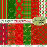 Christmas Digital Papers / Christmas Backgrounds / Classic