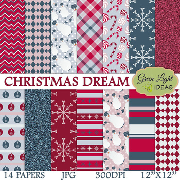 Christmas Digital Papers / Christmas Backgrounds / Winter Backgrounds