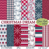Christmas Digital Papers / Christmas Backgrounds / Winter