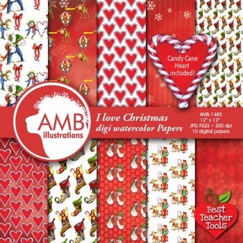 Christmas Digital Papers, Christmas Watercolors, Holiday Papers, AMB-1485