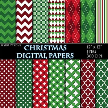 Christmas Digital Papers Geometric Background Zigzag Printable Green Red