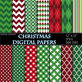 Christmas Digital Papers Geometric Background Zigzag Print